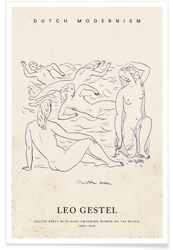 , Gestel - Nude Swimming Women affiche