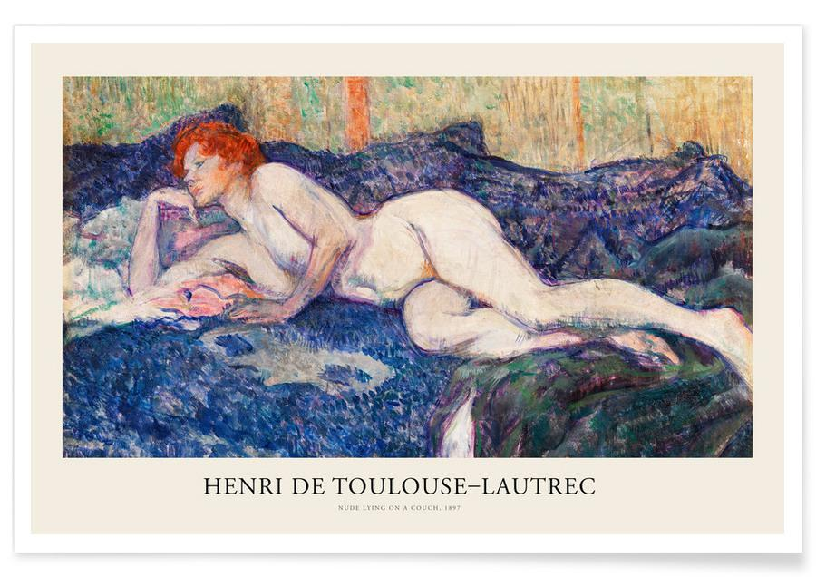 , Toulouse-Lautrec - Nude Lying on a Couch affiche