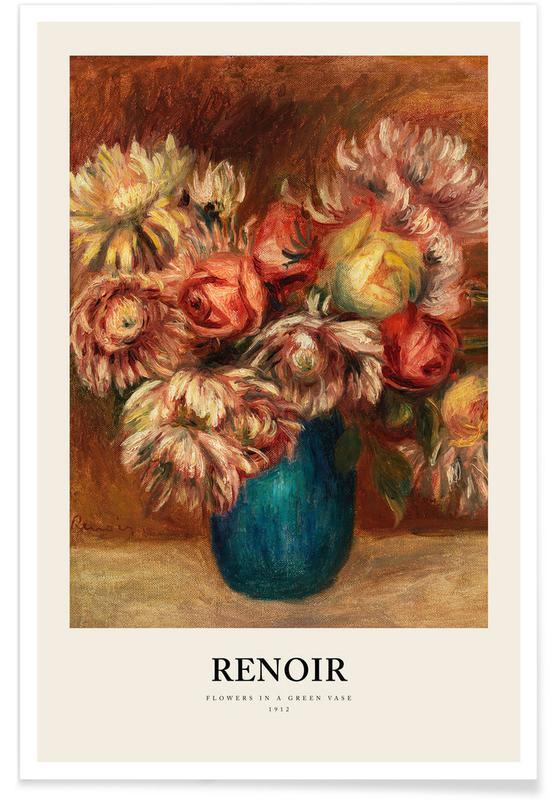Portraits, Renoir - Flowers in a Green Vase affiche
