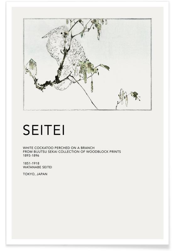 Japanisch inspiriert, Seitei - White Cockatoo Perched on a Branch -Poster