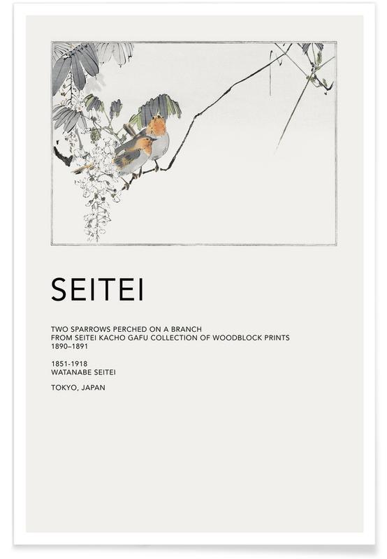 D'inspiration japonaise, Seitei - Two Sparrows Perched on a Branch affiche