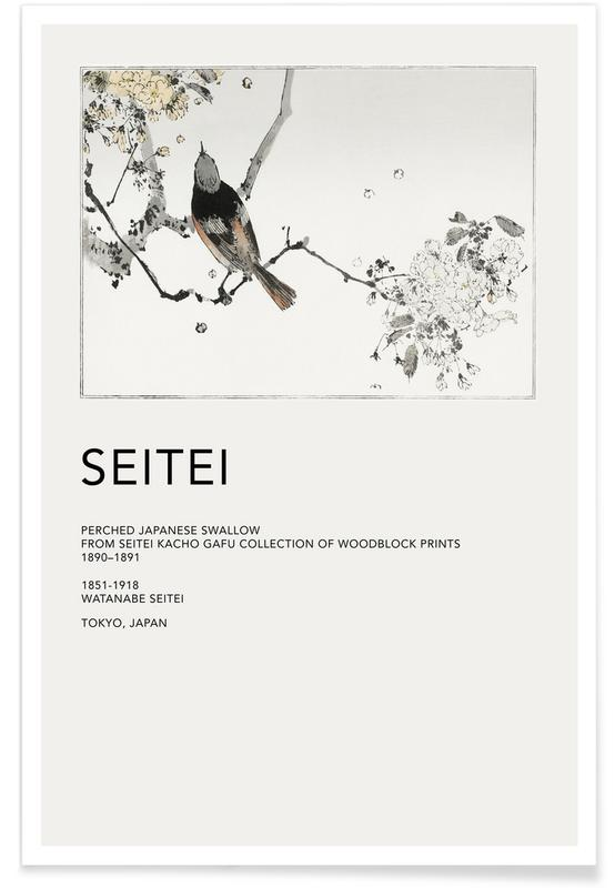 Japans geïnspireerd, Seitei - Perched Japanese Swallow poster