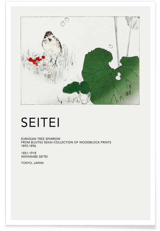 D'inspiration japonaise, Seitei, Seitei - Eurasian Tree Sparrow affiche