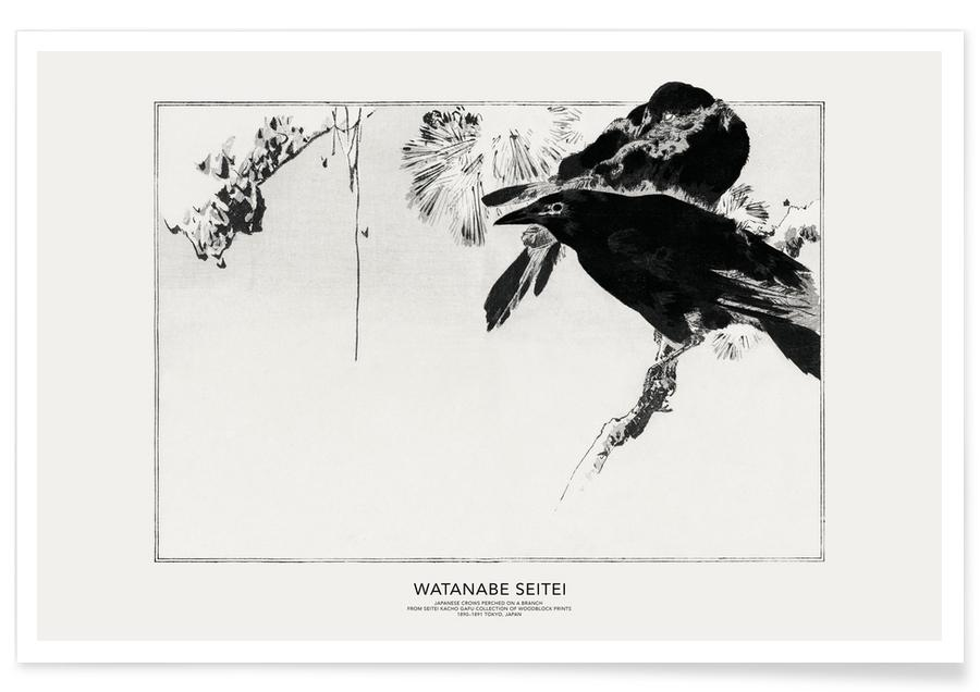 Japanese Inspired, Seitei - Japanese Crows Perched on a Branch Poster