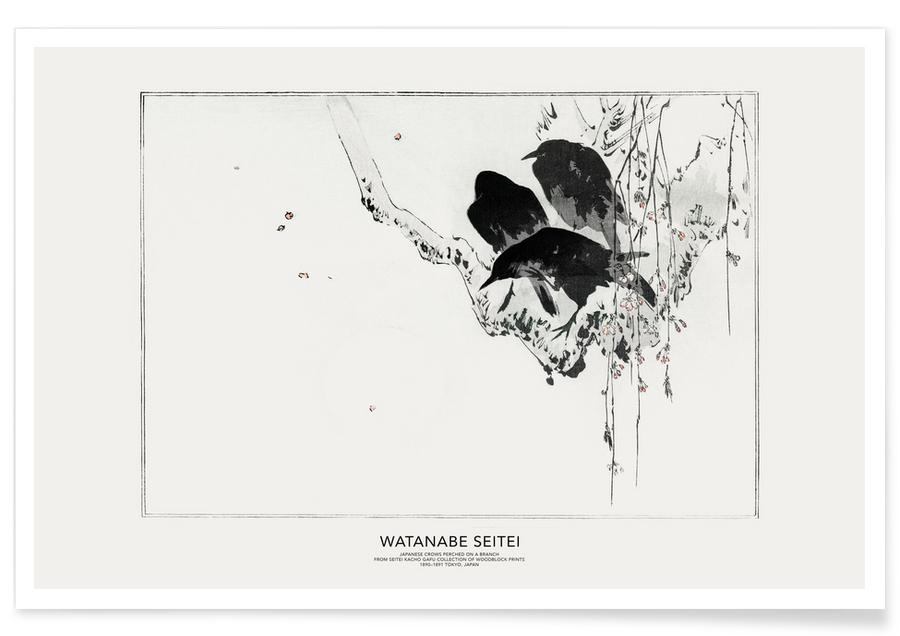 Japanisch inspiriert, Seitei, Seitei - Japanese Crows Perched on a Branch II -Poster