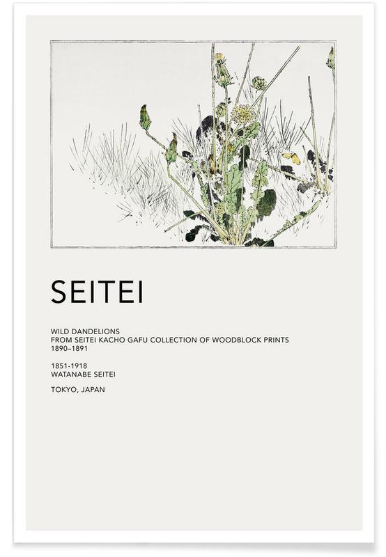 D'inspiration japonaise, Seitei, Feuilles & Plantes, Seitei - Wild Dandelions affiche