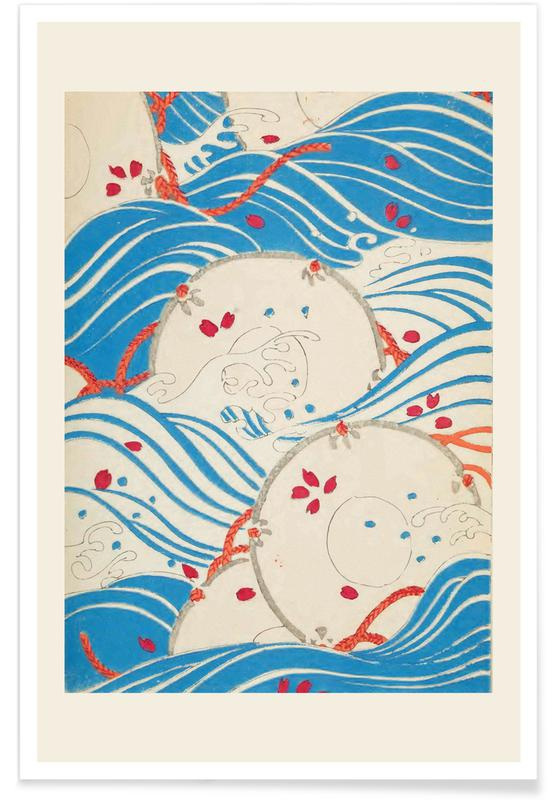 Vintage reis, Japans geïnspireerd, Shin-Bijutsukai - Storm Over Water poster