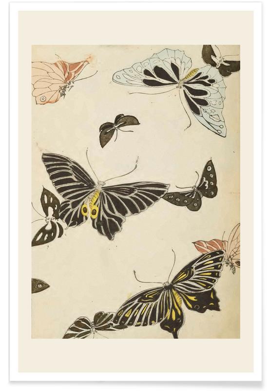 Vintage Reise, Japanisch inspiriert, Shin-Bijutsukai - Butterflies -Poster