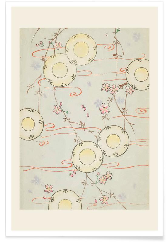 Vintage Reise, Japanisch inspiriert, Shin-Bijutsukai - Floral Flow -Poster