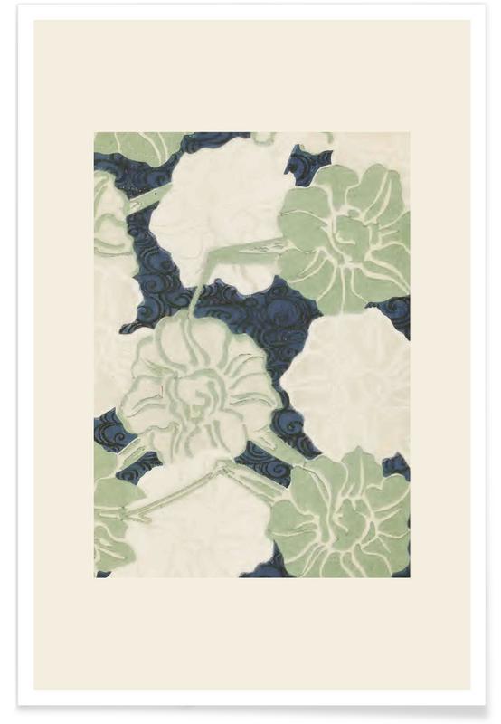 Vintage Travel, Japanese Inspired, Shin-Bijutsukai - Green Florals Poster