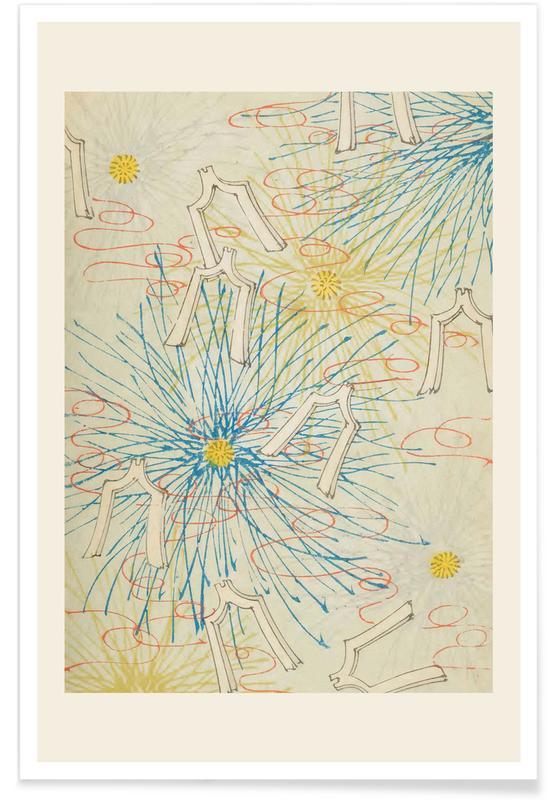 Vintage Reise, Japanisch inspiriert, Shin-Bijutsukai - Sunburst -Poster