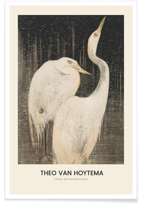 Kraniche, Japanisch inspiriert, Van Hoytema - Twee Zilverreigers -Poster