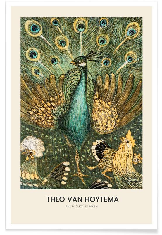 Japans geïnspireerd, Pauwen, Van Hoytema - Pauw Met Kippen poster