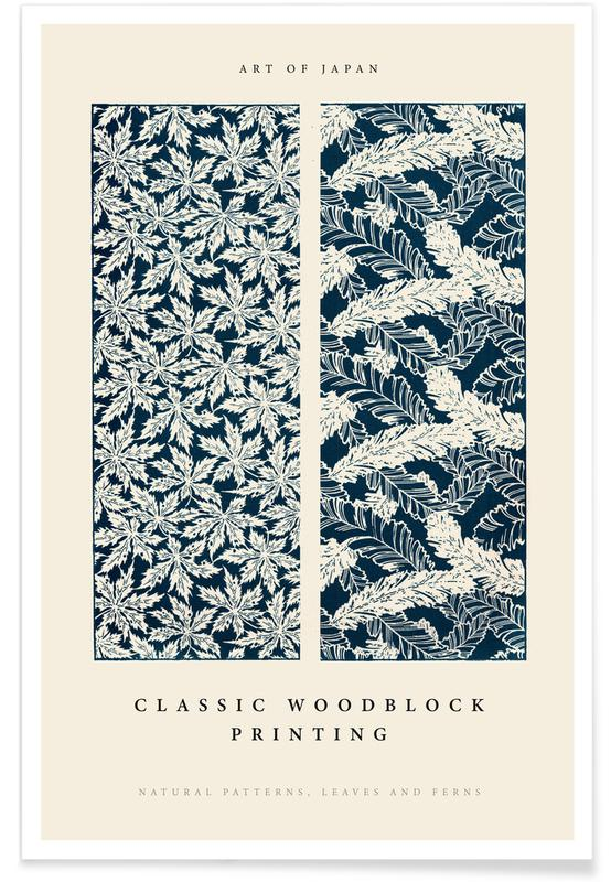 D'inspiration japonaise, Japanese Leaves And Ferns Woodblock affiche