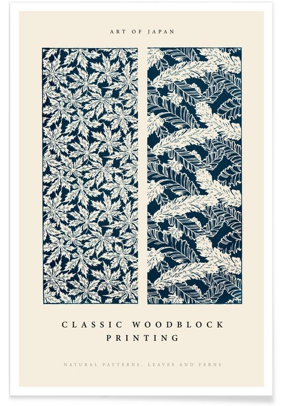 Japanisch inspiriert, Japanese Leaves And Ferns Woodblock -Poster