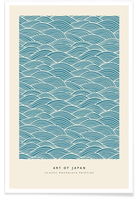 D'inspiration japonaise, Japanese Wave Woodblock affiche