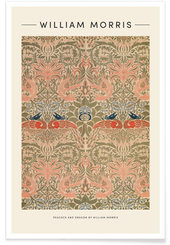 Japansk vintage, William Morris - Peacock And Dragon Plakat