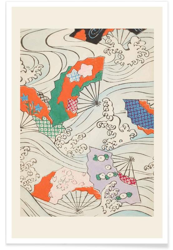 Vintage Travel, Japanese Inspired, Shin-Bijutsukai - Crest & Fan Poster