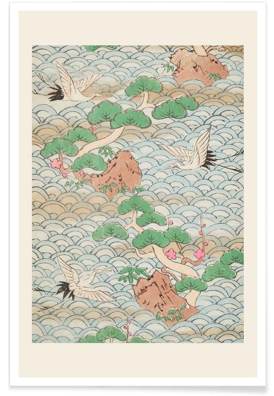 Vintage voyage, D'inspiration japonaise, Shin-Bijutsukai - Flight Over Mountains affiche