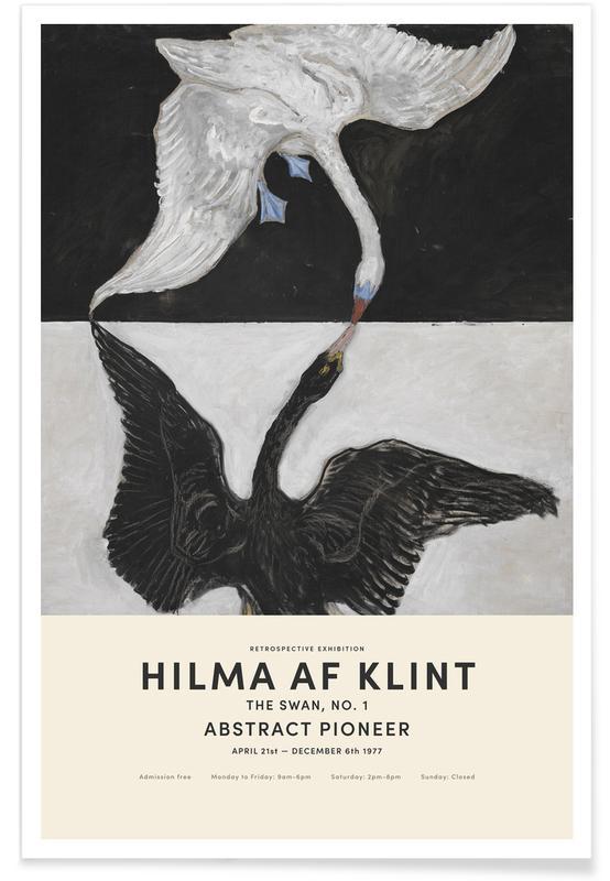 Hilma af Klint, Noir & blanc, Cygnes, Hilma af Klint - The Swan, No. 1 affiche