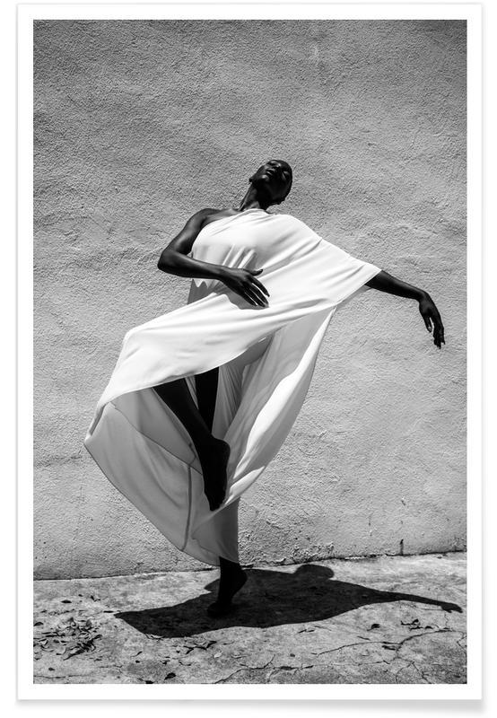 Mode fotografi, Portrætter, Nøgen, Sort & hvidt, Drømmende, Floating On A Cloud Plakat