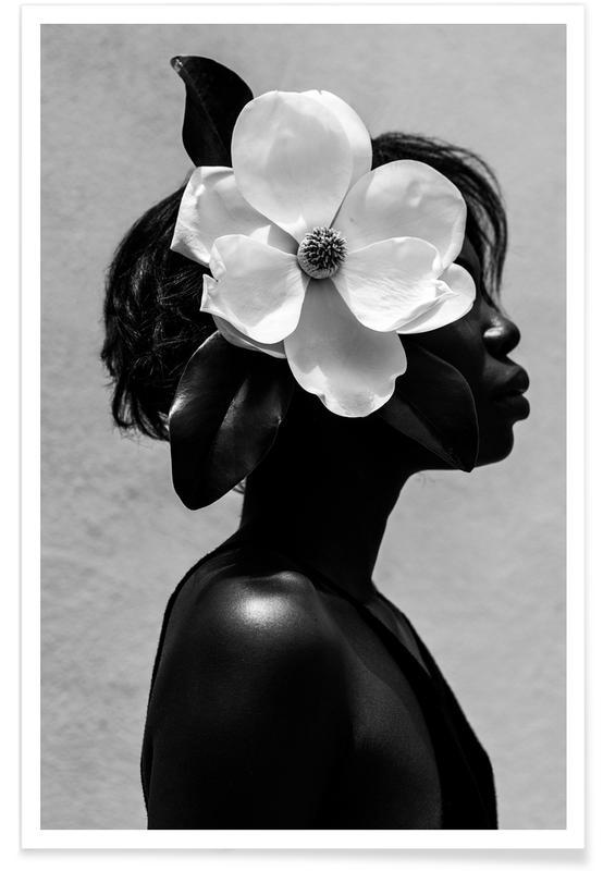 Photos de mode, Noir & blanc, Portraits, Rêve, Nus, Magnolia affiche