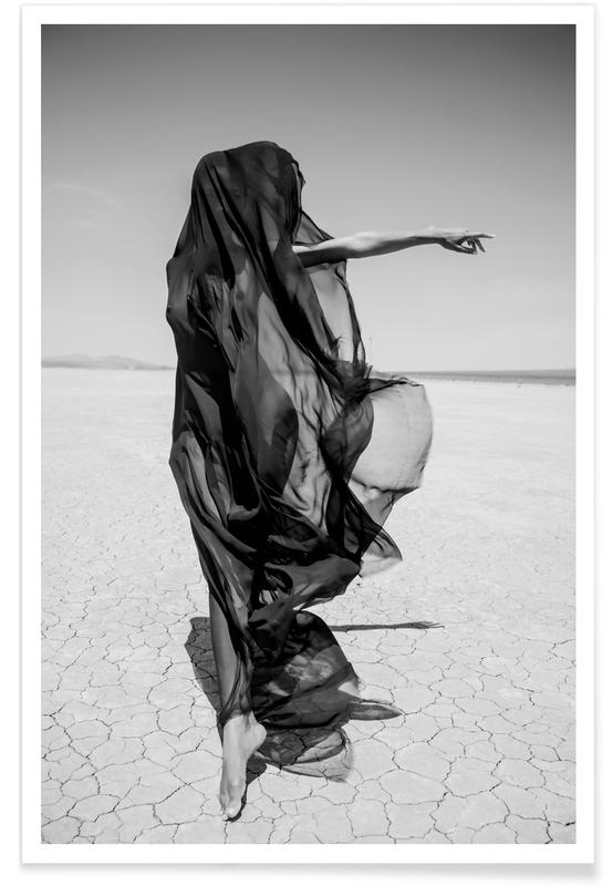 Nude, Deserts, Black & White, Dreamy, Portraits, Fashion Photography, Desert Ghost Poster