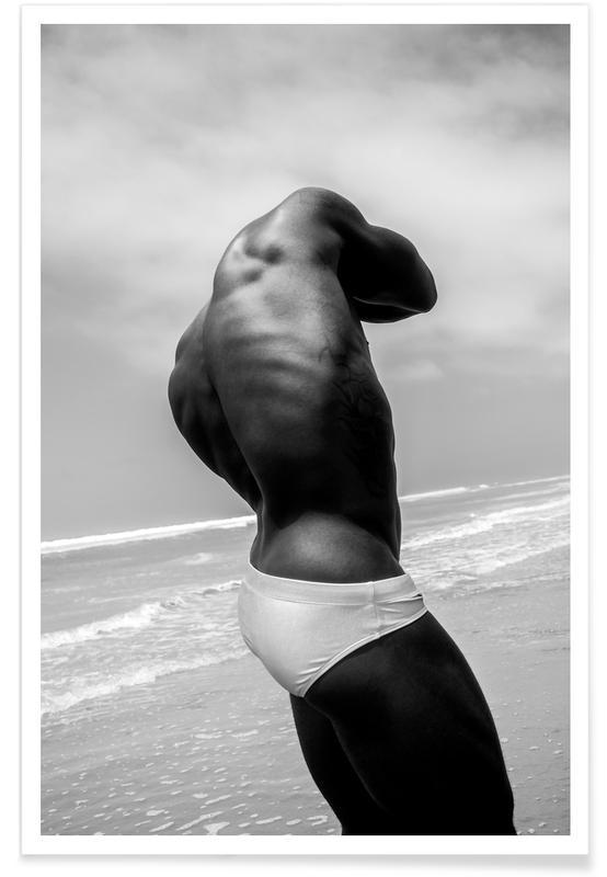 Zwart en wit, Modefotografie, Naakt, Beach Swimmer poster