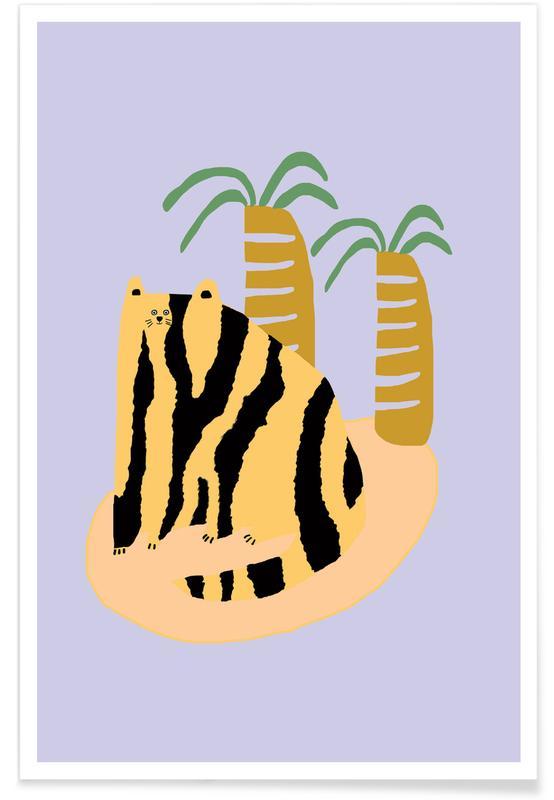 Cats, Alphabet & Letters, Cat & Palms Poster