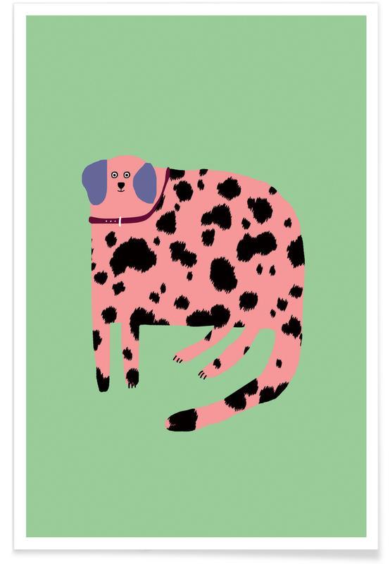 Alphabet et lettres, Chiens, Léopards, Pink Dalmatian affiche