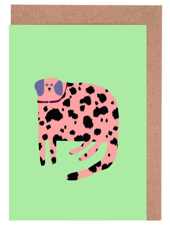 Alphabet & Buchstaben, Leoparden, Hunde, Pink Dalmatian -Grußkarten-Set