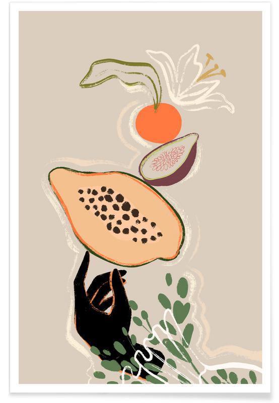 Tanzen, Strände, Balancing Fruits -Poster