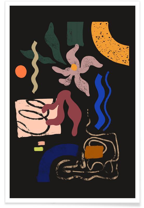 Danse, Plages, Abstractfloral affiche