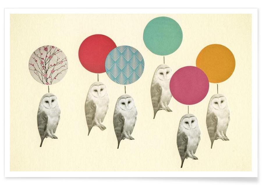 Art pour enfants, Chouettes, Ballon landing affiche