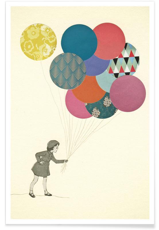 Art pour enfants, Rétro, Party girl affiche