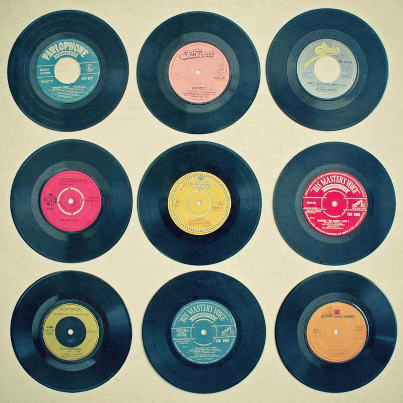 Vinyl collection Aluminium Print