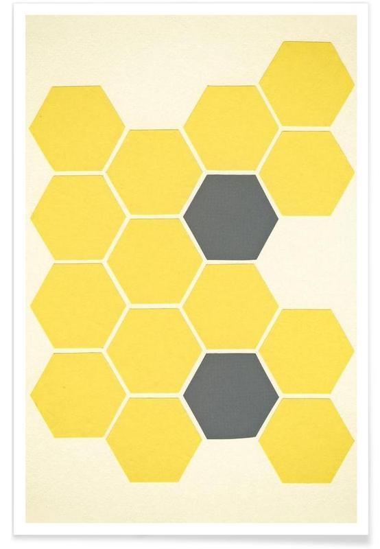 Yellow honeycomb affiche