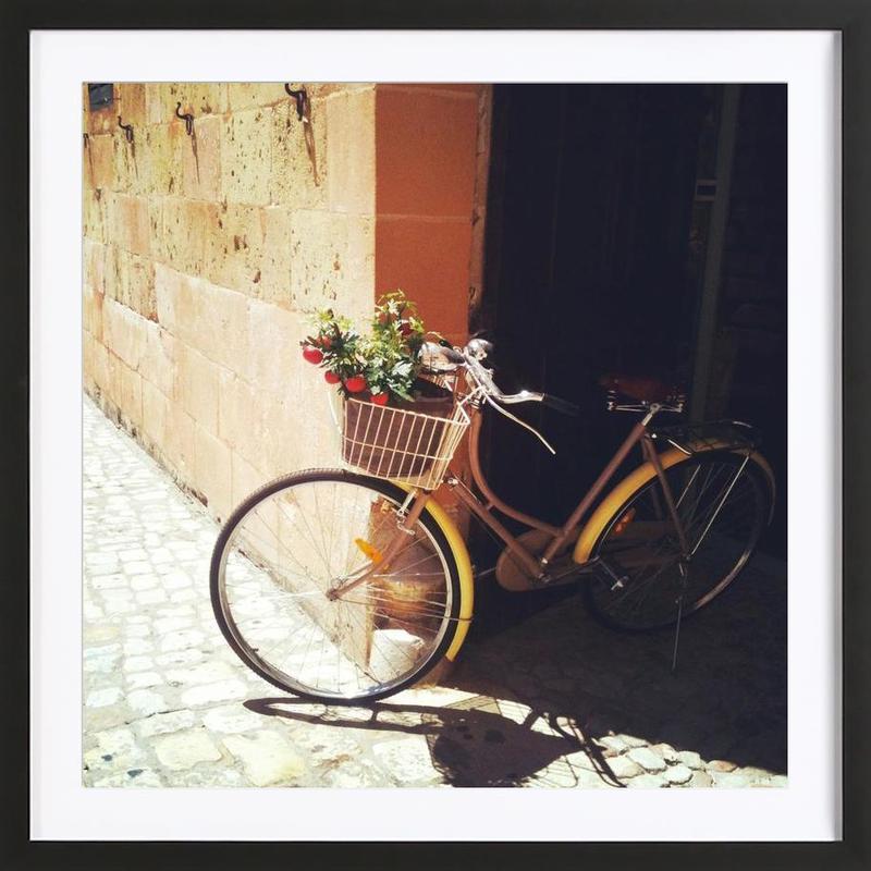 Yellow Bicycle affiche sous cadre en bois