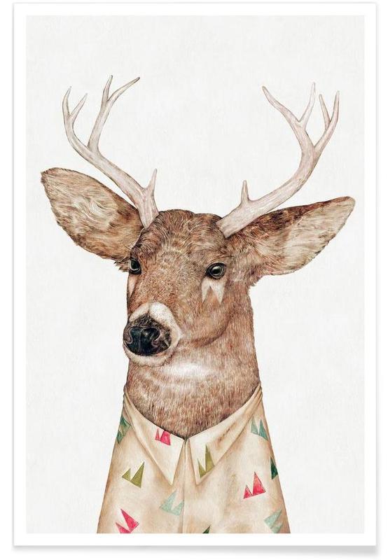Cerfs, White Tailed Deer affiche