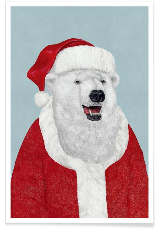 Polar Bear Santa -Poster