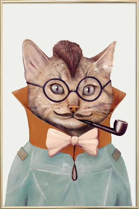Eclectic cat poster in aluminium lijst