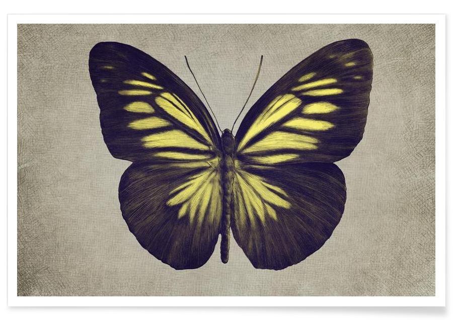 Papillon (yellow) Poster