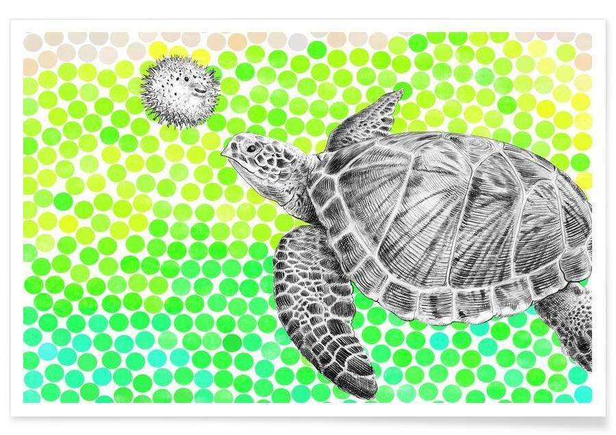 Tortues, Turtle and Pufferfish affiche