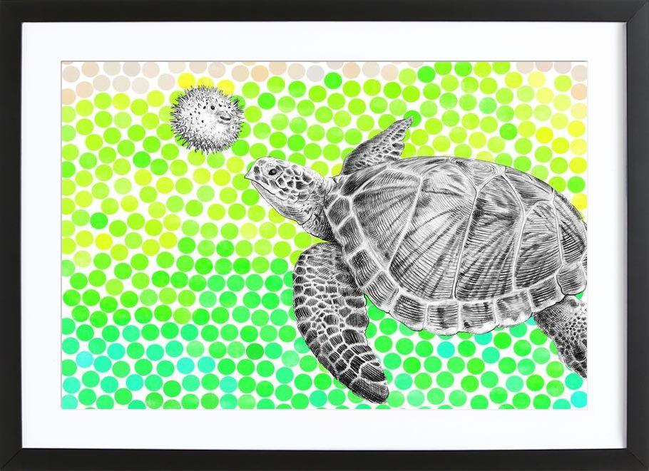 Turtle and Pufferfish Framed Print