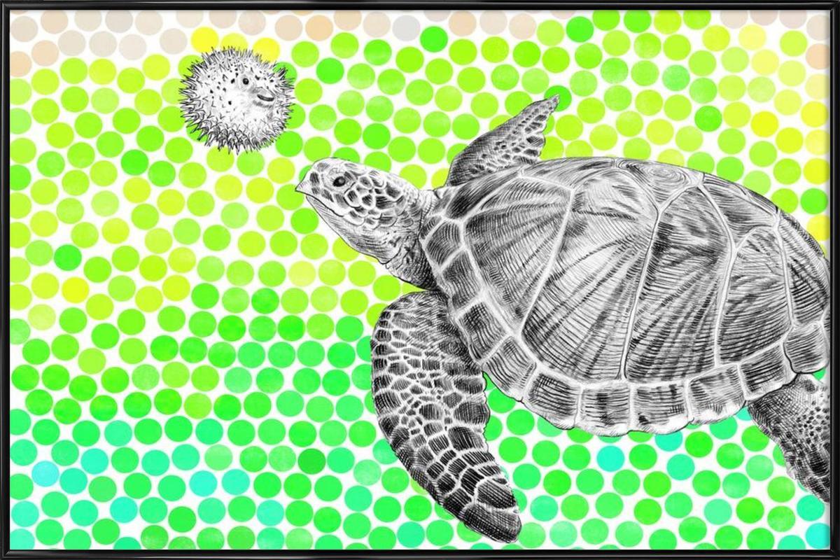 Turtle and Pufferfish -Bild mit Kunststoffrahmen