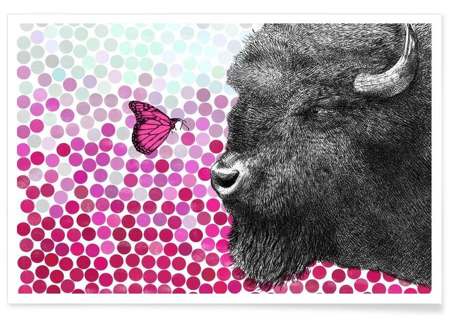 Bøfler, Bison and Butterfly Plakat