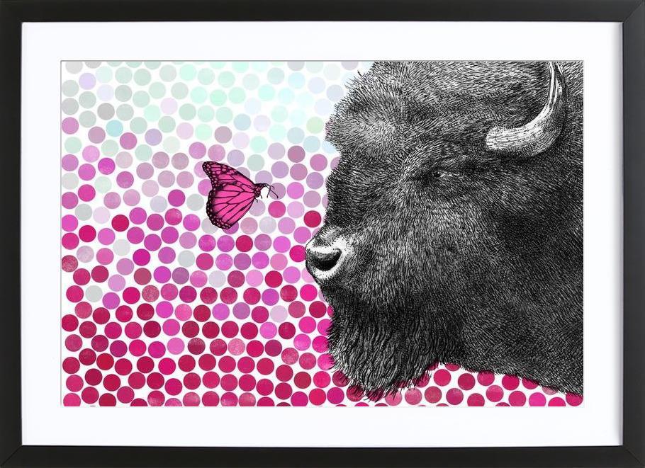 Bison and Butterfly -Bild mit Holzrahmen