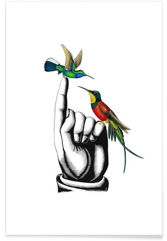 Hummingbirds on hand affiche