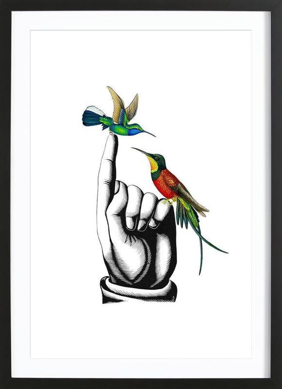 Hummingbirds on hand Framed Print