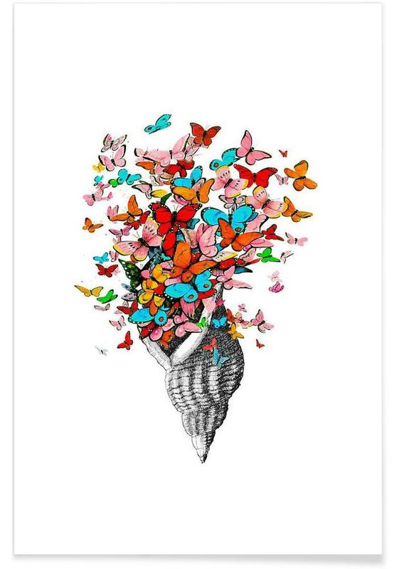 Seashell with butterflies affiche